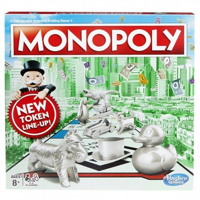 Hasbro Gaming Classic Monopoly Board Game With NEW Token Line Up CAT DINOSAUR