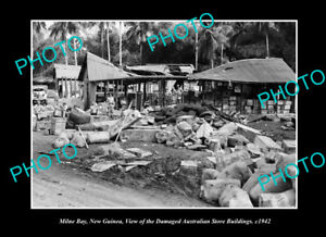 OLD-LARGE-HISTORIC-PHOTO-MILNE-BAY-PNG-THE-WWII-AUSTRALIAN-STORES-BUILDING-1942