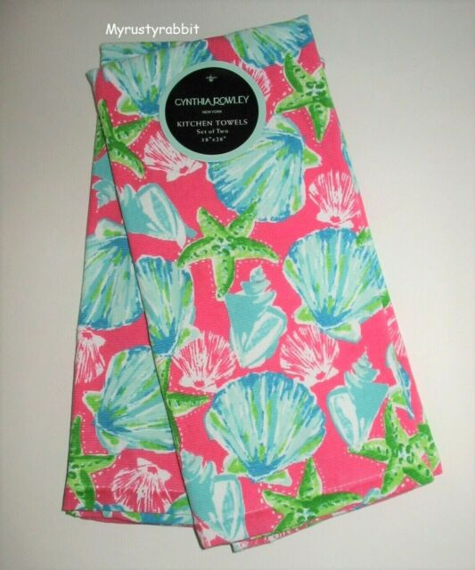 Cynthia Rowley Set of 2 Kitchen Towels Colorful Large Flowers