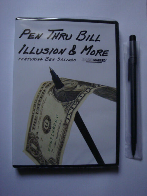 PEN THRU BILL ILLUSION & MORE DVD WITH PEN BY MAGIC MAKERS TRICK BEN SALINAS