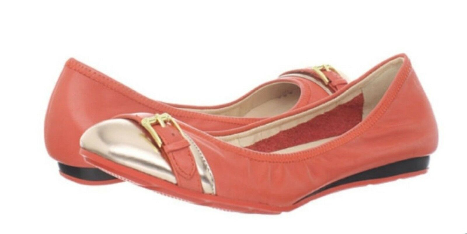 $178 Cole Haan Air Reesa Buckle Ballet Shoes Womens 10 Orange Gold NEW IN BOX