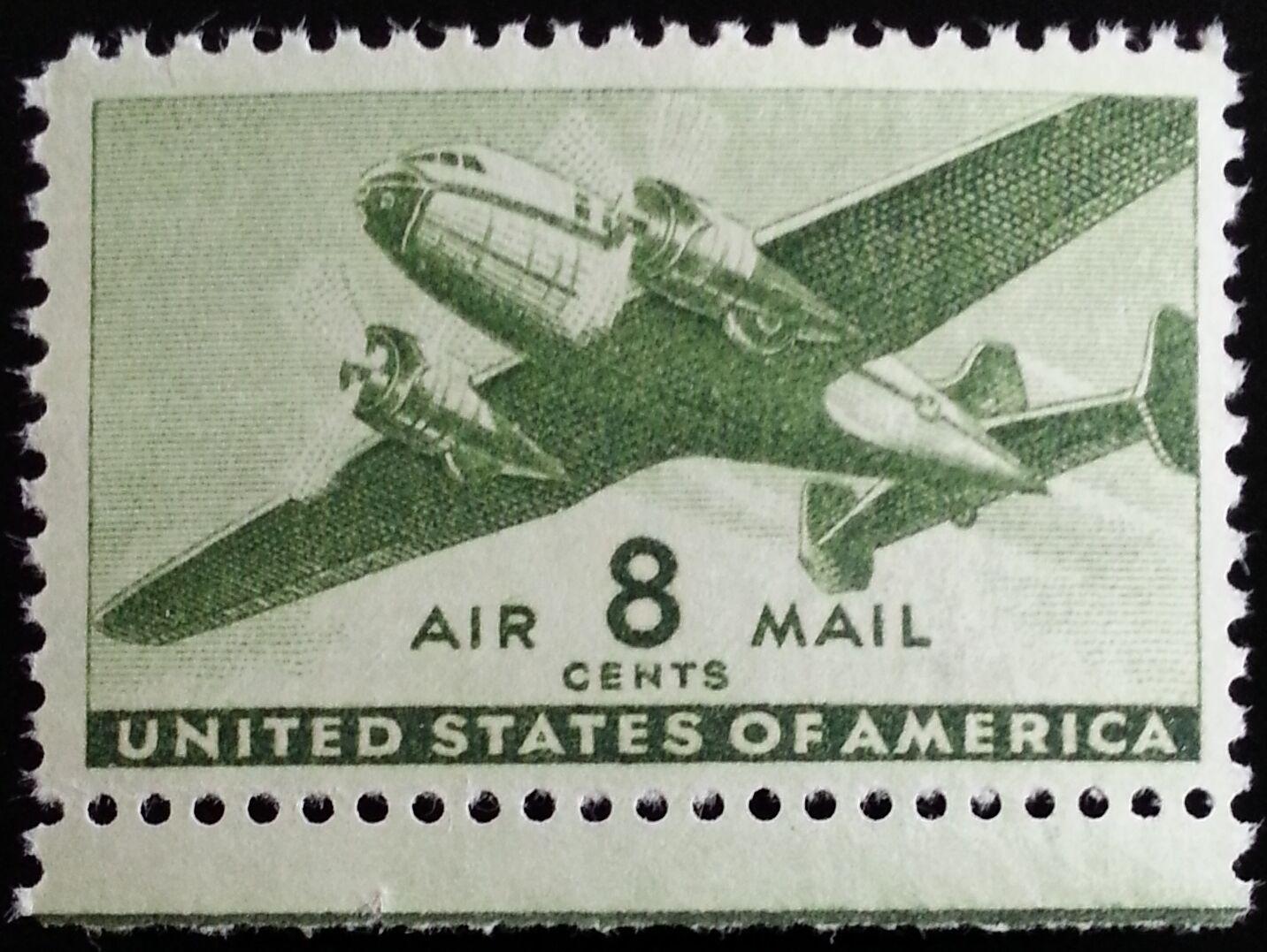 1944 8c Twin-Motored Transport Plane, Olive Green Scott