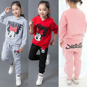 65c22ad23 2Pcs Kids Girl Minnie Hooded Sweatshirt Top Pants Trousers Tracksuit ...