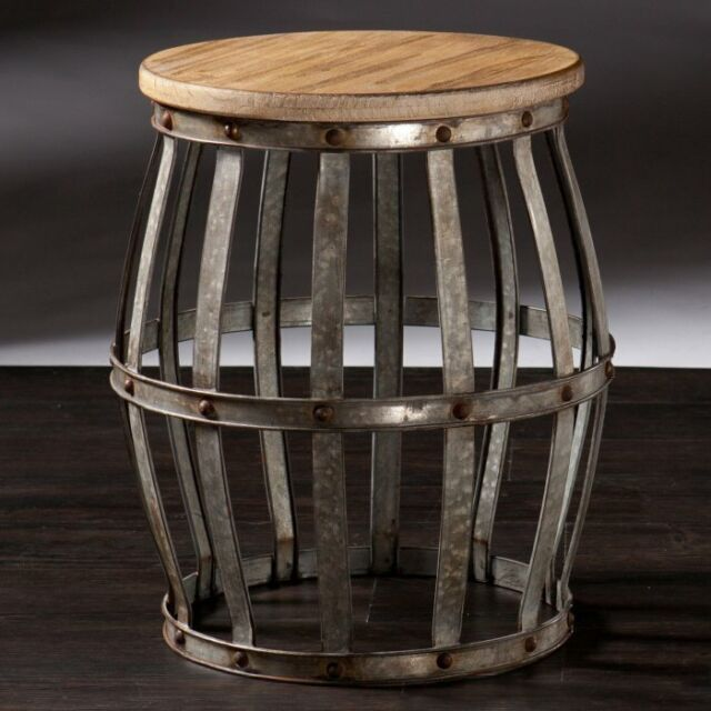 Wine Barrel Metal Drum Stool Rustic Style Accent Table Furniture Wood
