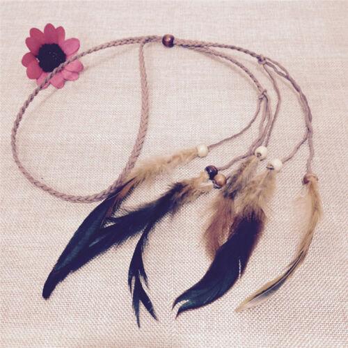 Hippie Indianer Feder Stirnband Handmade Weave Federn Haar Seil Kopfschmuck ZP