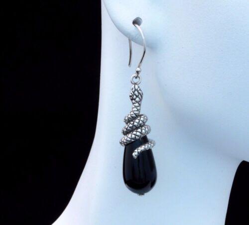 BaliBeauti Genuine Black Onyx and Sterling Silver Snake Dangling Earrings