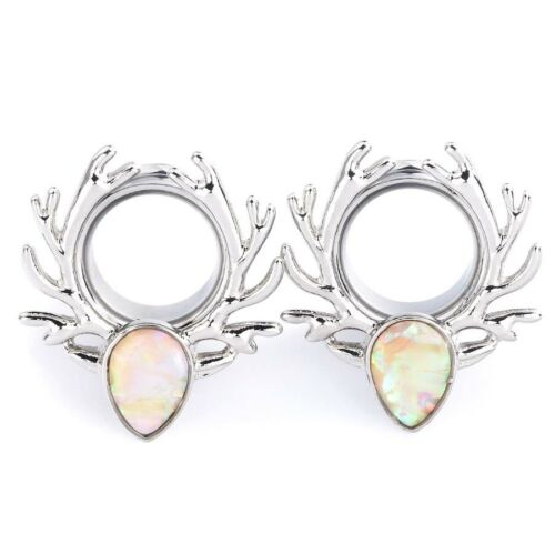 Pair of Stainless Steel Flesh Ear Tunnels Gauges Plugs with Abalone Inlay Ornate
