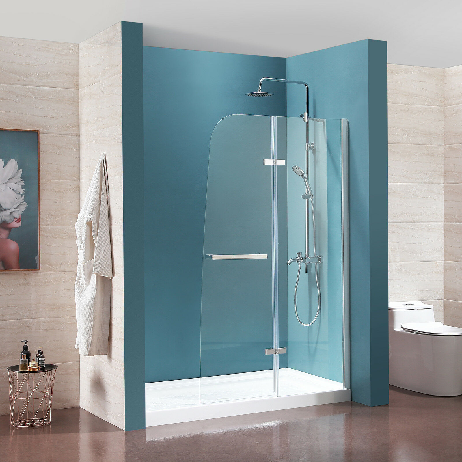44 X 72 Frameless Hinged Shower Door Clear Tempered Glass Door Chrome Finish