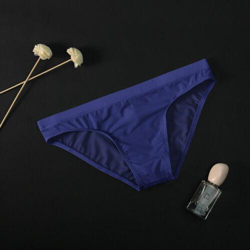 Men Sissy Underwear Underpant Ice Silk Translucent Bikini Briefs Knickers L~3XL