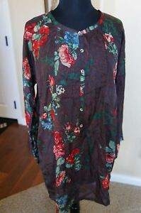 NEW-Johnny-Was-Silk-Long-Dalman-Sleeve-Brown-Floral-Top-Tunic-Blouse-Dress-S-M