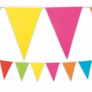 10m-Multi-Coloured-Bunting-Flag-Pennant-Plastic-Summer-Garden-Party-Decoration