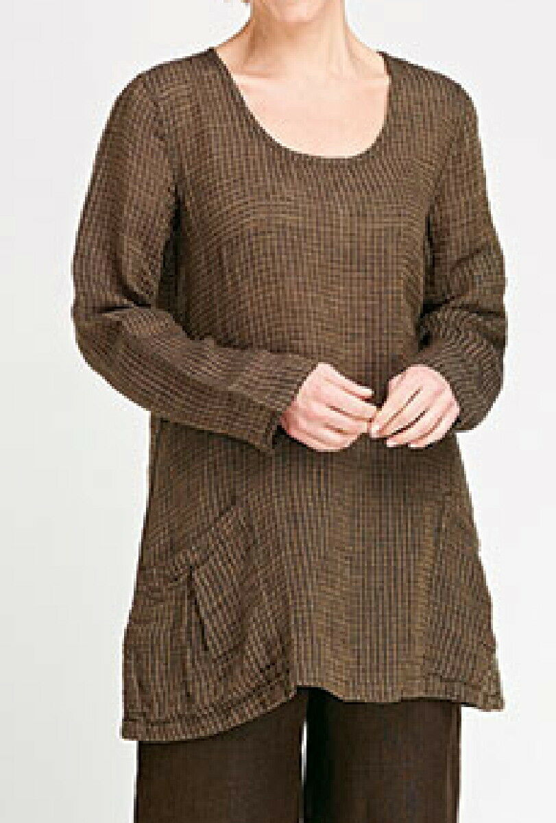 FLAX LINEN  Slouch Tunic   M    NWOT  COFFEE  Windowpane