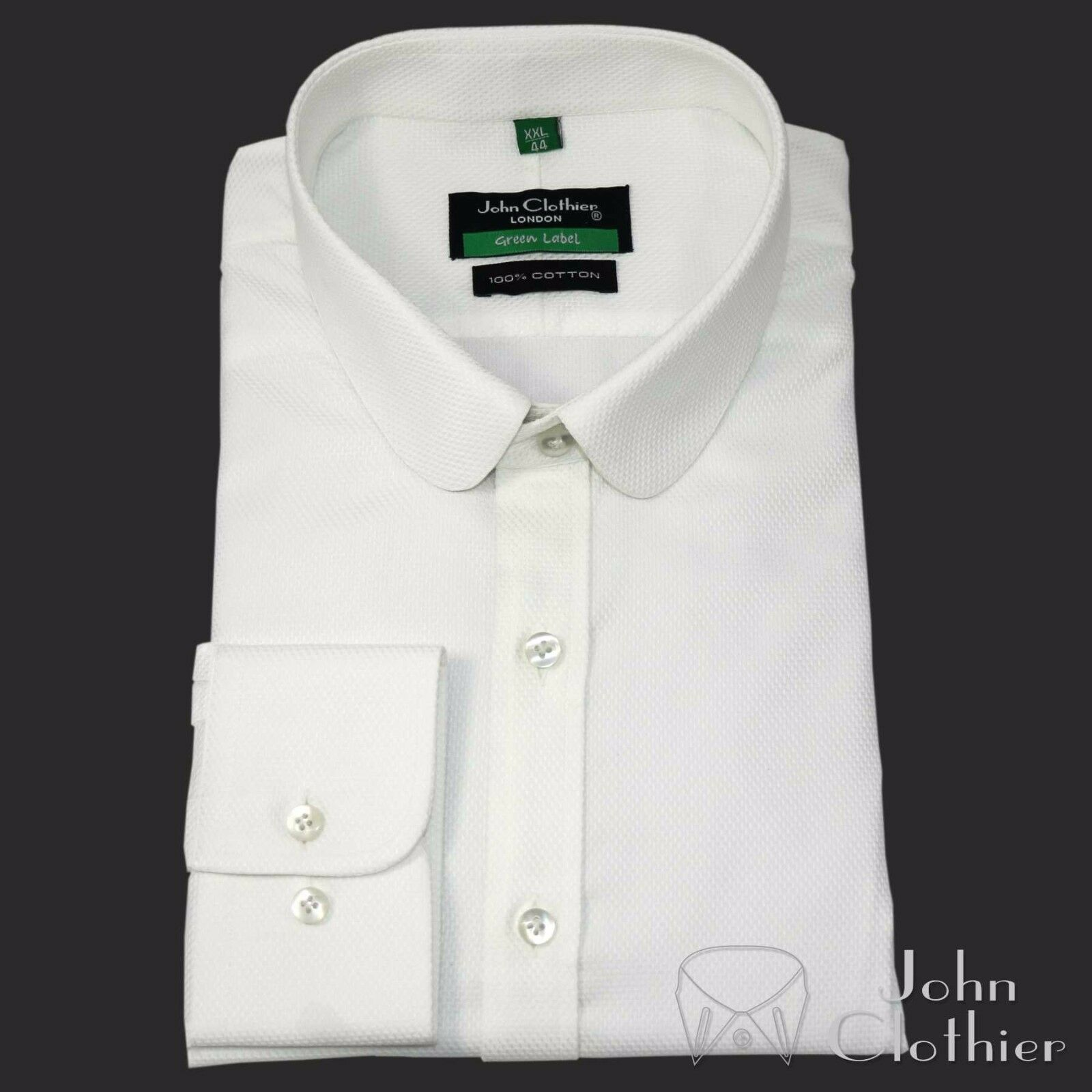 Herren Penny Kragen Hemd Weiß Baumwolle Oxford Steps Rund Club Peaky Blinder