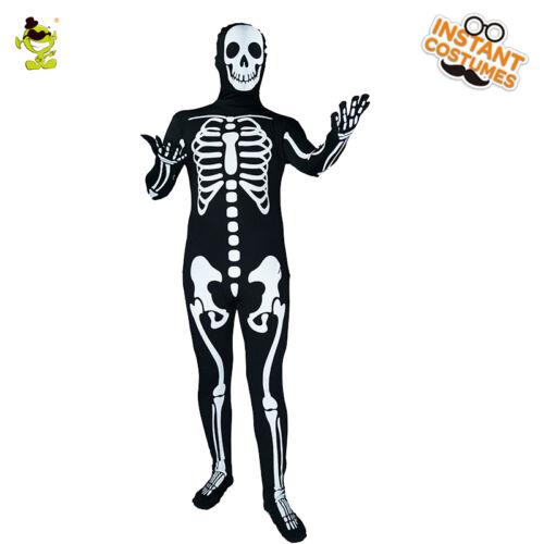 Men Scary Skeleton Skull Skin Costume 3D-Print Fancy Dress Up Halloween Jumpsuit