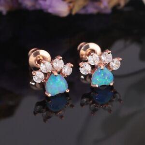 Lovely-Blue-amp-White-Fire-Opal-Topaz-Rose-Gold-Women-Jewelry-Earrings-OH4681-82