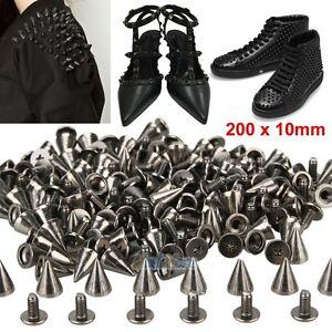 200x 7mm Rhinestone Rivet Studs Spots Cone Spikes Leathercraft Clothing Shoes