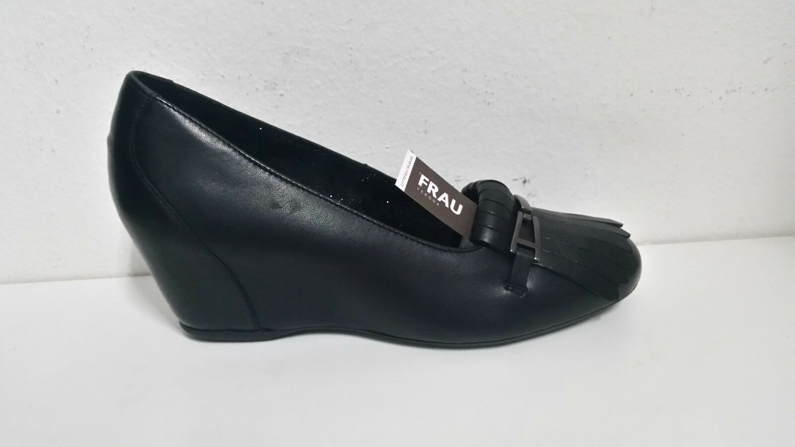 FRAU scarpe donna ballerine con zeppa n. 39 pelle nero art. 71P4