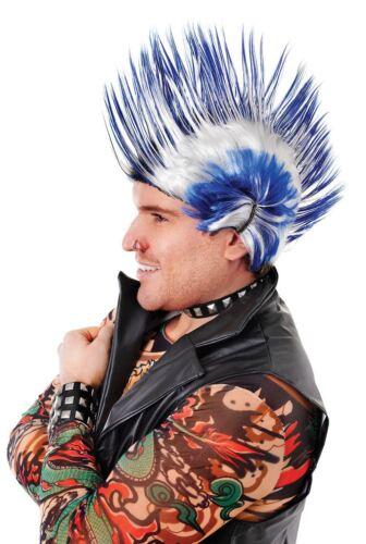 New Men/'s 70s 80s White//Blue Red//purple Multi Spike Punk Rock Mohican WIG Fancy