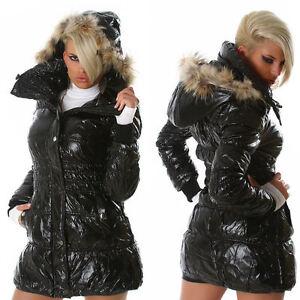 Australien Fur Lang Størrelse Hood Frakke ❤ 10 Glossi Sort M Edge Sexy Jakke W Ny X6qxFABq