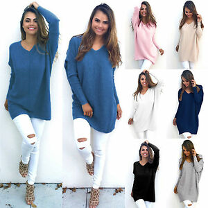 Womens-V-Neck-Sweater-Shirt-Long-Sleeve-Casual-Knit-Jumper-Tops-Pullover-Outwear