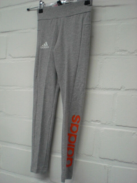 Adidas Mädchen Ess Linear Tight lang mit Logo CF7242 grau  Gr. 128-170 NEU!!!