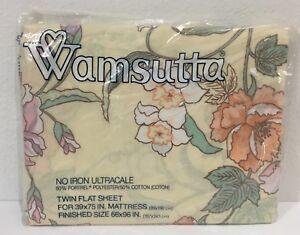 Wamsutta-Vtg-Japanese-Garden-Twin-Flat-Sheet-NIP-Floral-66-x-96-Fabric-Craft-New