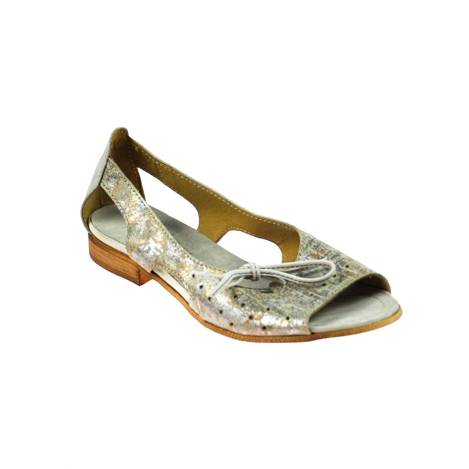 Fascino Sandalo Da Donna Scarpe Basse in in in Pelle APERTO GRIGIO argentoO Multicoloree 98e905