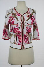 Class Roberto Cavalli Sweater Size 8 White Printed Cardigan Casual Knit Top