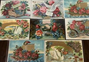 Lot-of-8-Fancy-Doves-Birds-Roses-Flowers-Vintage-Greeting-Postcards-a582