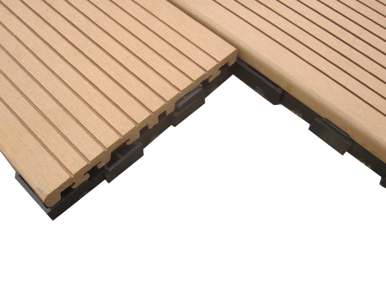 50m bpc klick fliesen terrassendielen bangkirai braun holz balkon diele wpc neu ebay. Black Bedroom Furniture Sets. Home Design Ideas