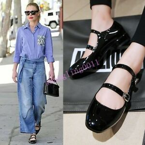 Womens-Mary-Janes-Double-Buckle-Low-Heel-Slip-on-Loafers-Pumps-Sweet-shoes-2018
