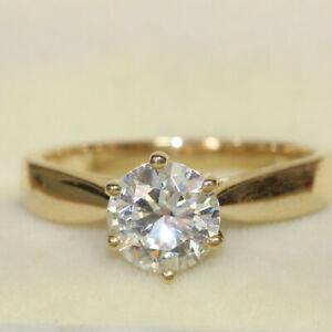 2.00 Ct Round Moissanite Engagement Bridal Ring Real 18K Yellow Gold ring Size 6