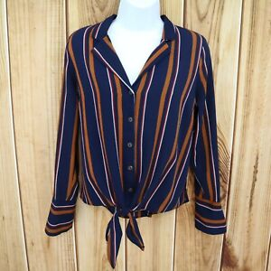 Monteau-Los-Angeles-Button-Up-Top-Juniors-M-Blue-Striped-Tie-Front-Long-Sleeve
