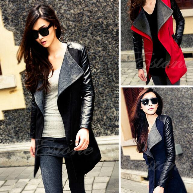 Women's Warm Wool Blend PU Leather Sleeve Long Coat Jacket Parka Trench Overcoat