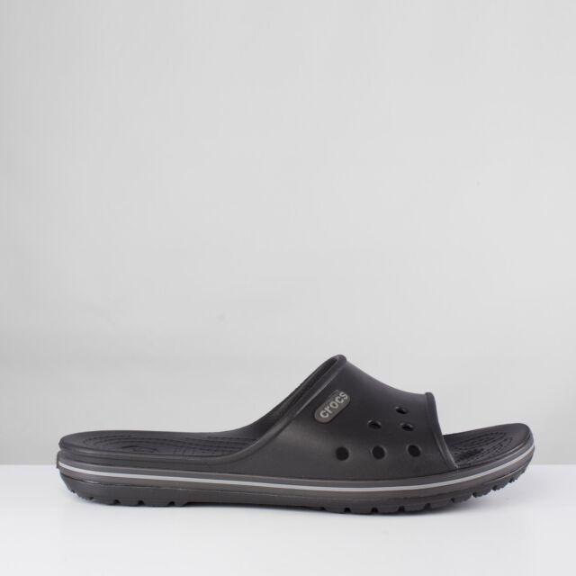 9a8e45373049 Crocs CROCBAND SLIDE Unisex Mens Womens Slip On Mule Flip Flops Black  Graphite