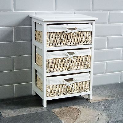 3 Drawer Wood Maize Basket Drawers White Cupboard Cabinet Unit By Home Discount