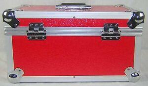 1-X-NEO-Aluminum-Red-Vinyl-7-034-Storage-for-Records-200-Singles-DJ-Flight-Case