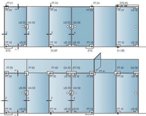 KBA Top Pivot Door Patch Fitting for Glass Doors Dorma PT20