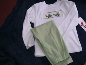 Boys-Smocked-Shirt-Pants-Set-6X-HELICOPTERS-NEW-Silly-Goose-by-Vive-La-Fete