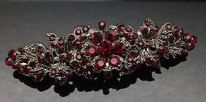 DARK-RED-SIAM-Wedding-Crystal-Hair-Comb-Clip-Barrette-Bridal-Black-Formal-Pin