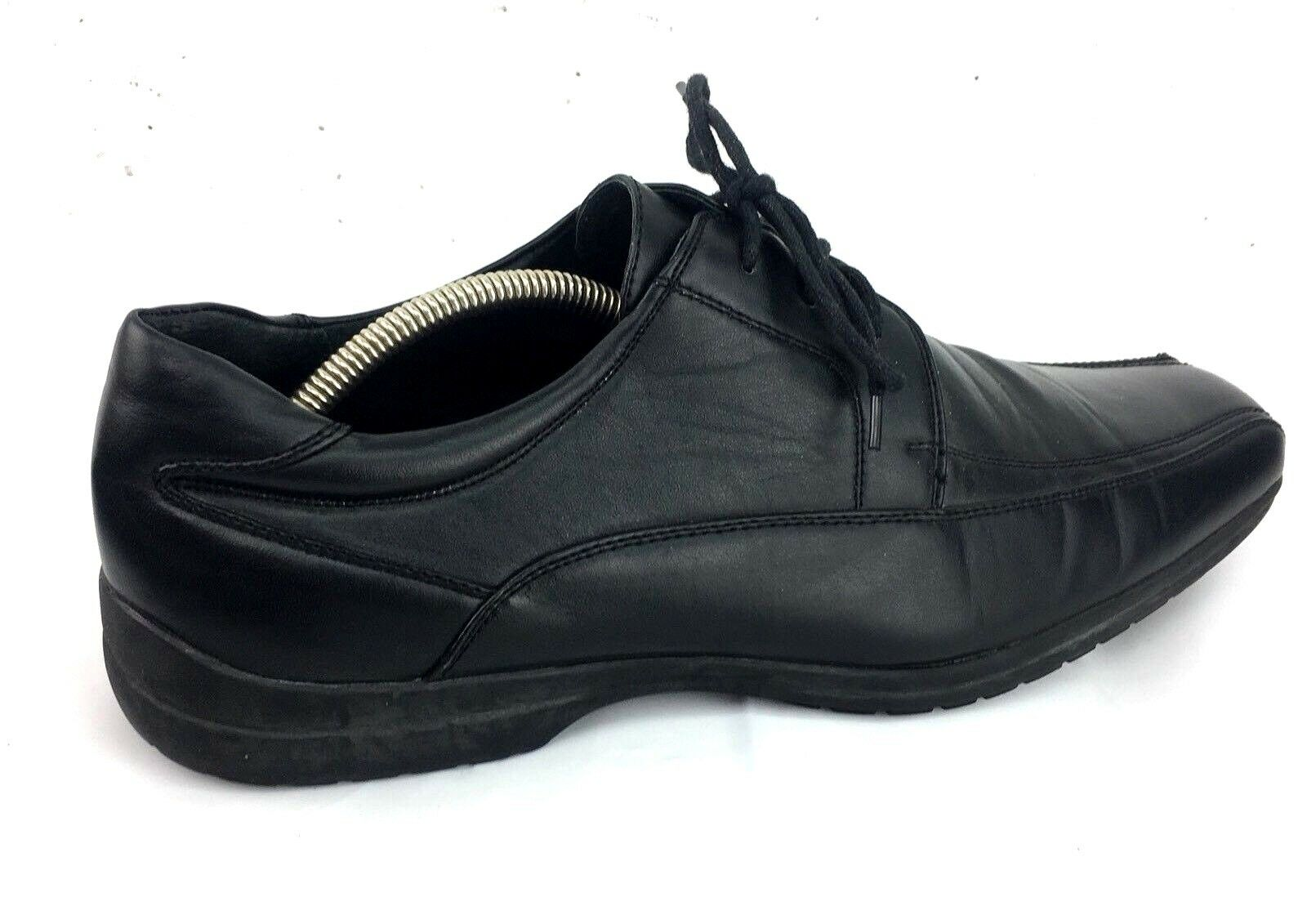 Men's Apt 9 Black Leather Lined Dress shoes 11M Career Oxfords Bicycle Toes