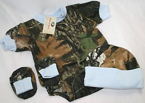 Camouflage Diaper Shirt Pants Booties Hat Realtree Camo Baby Boy 4pc Set