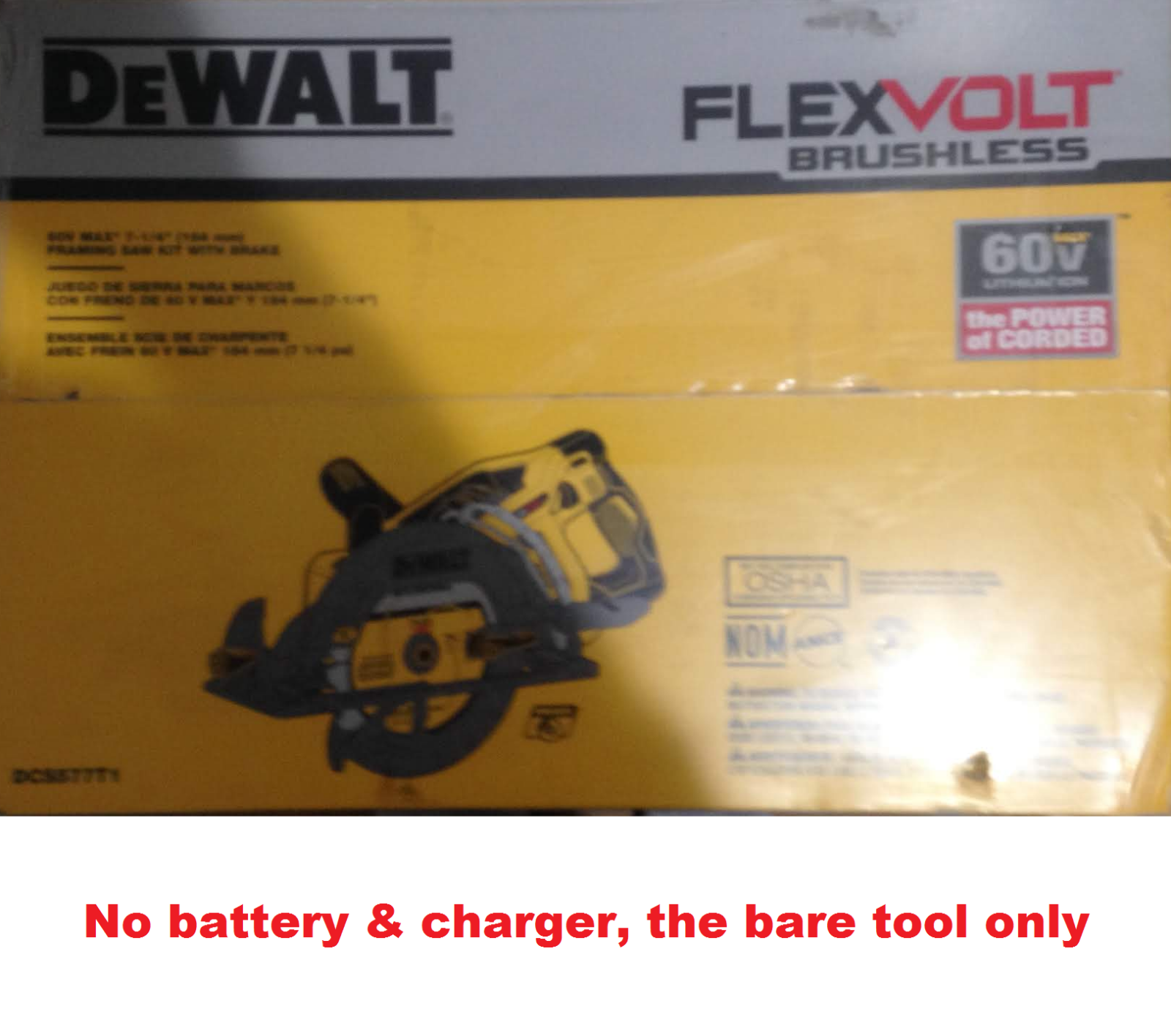 DEWALT DCS577B FLEXVOLT 60V MAX Brushless 7-1/4 in. Wormdrive Style Circular Saw