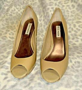 Steve-Madden-Pyper-Beige-Cuir-Verni-a-Enfiler-Bout-Ouvert-Aiguille-Shoes-10-M