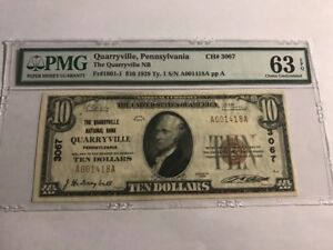 1929-10-Quarryville-Pennsylvania-PA-National-Currency-Bank-Note-Ch-3067-PMG-63