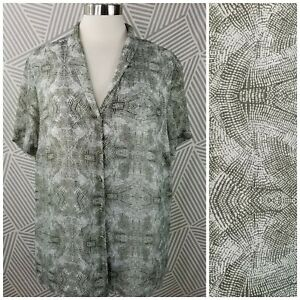 Coldwater-Creek-Plus-size-1X-18-Boho-Tunic-Top-Blouse-layered-Button-Up-Light