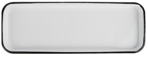 PLATEAU EMAILLE Blanc Avec Noir Bord 12,5x35cm rectangulaire IB Laursen