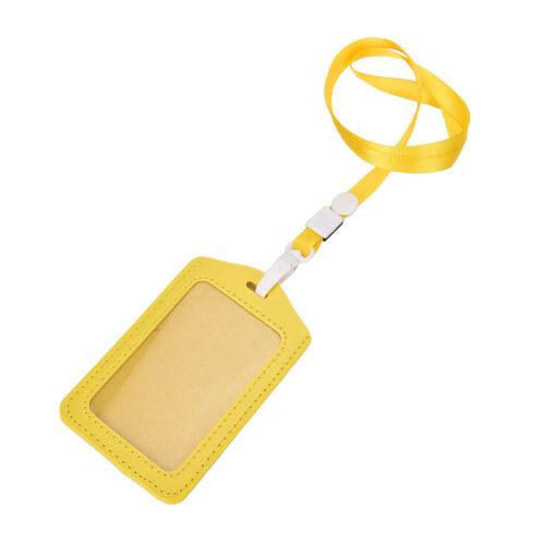 Vertical Transverse Plastic ID Name Card Holder Work Badge w// Lanyard H/& /'B1