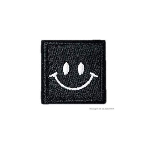 ~30x30mm Aufnäher schwarzweiss Black Smile