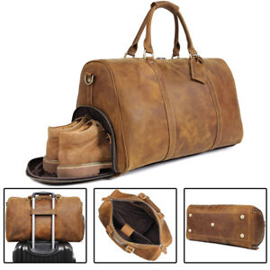 3ef040d4ca Image is loading Vintage-Men-Leather-Travel-Bag-Luggage-Holdall-Weekend-